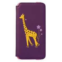 Funny giraffe iPhone 6 case with a cartoon giraffe nibbling on a light purple flower and holding some flowers with its tail while roller skating, on dark purple background.