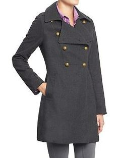 I can't decide-- grey or OD green?!  Help me out-- which one?! Womens Wool-Blend Military-Style Coat