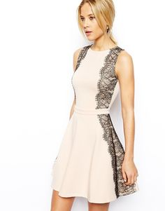 {ASOS lace paneled skater dress in nude + black - under $100}