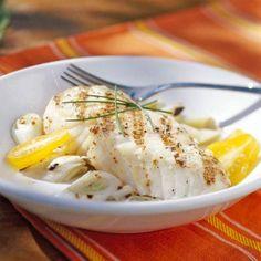 Grilled Halibut and Leeks with Mustard Vinaigrette