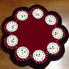 Snowman mug rug, Love working with Wool and making penny rugs.