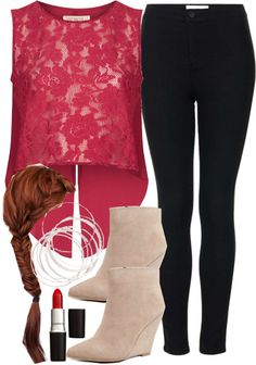 Lydia Inspired Outfit by veterization featuring a red top  Topshop red top, $68 / Topshop high rise black jeans / Seychelles suede wedge boots / Silver hinged bracelet
