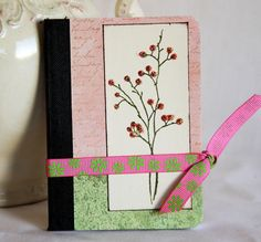Pink Mini Journal Notebook Silhouette Sprig Altered Composition Book