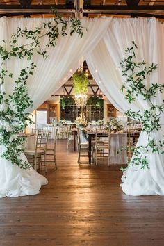 Barn Wedding Reception with a Draped Entrance #wedding #weddingideas #barnwedding