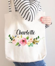 Floral Tote Bag Personalized Name Pink Flowers Canvas Wedding Bride Bridesmaid Mother of the Bride Girl Gift Watercolor Wreath Library Bag, Floral Tote Bags, Personalized Tote Bags, Baby Shower Flowers, Wreath Watercolor, Cotton Bag, Cotton Canvas, Flower Canvas, Party Favor Bags