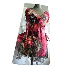 RESERVED Unique ArtTo Wear Silk Sexy Coral Red Top RASPBERRY GIRL Lingerie Slip Dress Fairy Romantic Tattered Boho Gipsy