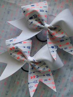 $12. Preppy Arrow Print Cheer Bow. Cheerleading bow. Tribe. Cheerleader gift. Cheer coach. Fun hair bows. #cheerleading #ad