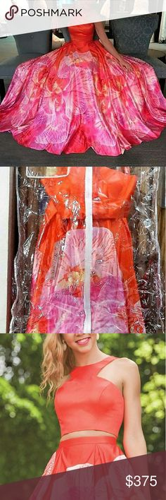 SOLD! NWT JOVANI PROM 2PC BALL GOWN. RARE. // SOLD//  Gorgeous 2PC BALL GOWN BY JOVANI! Size 2. Orange / multicolor. Polysatin. Beautiful floral full-length skirt and crop top. Zippered back. This is an incredible prom dress. Never worn or tried on. Brand new with tags!  The retail price of this JOVANI prom dress is $700+. Don't miss this amazing deal!  // SOLD// Jovani Dresses Prom