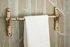 Handtuchhalter aus Birkenstamm