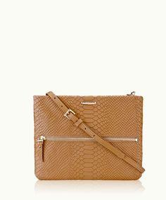 British Tan Cross-Body Bag | Embossed Python Leather | GiGi New York