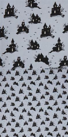 blue-grey fabric with black house fabric by Cotton and Steel - Kawaii Fabric Shop Michael Miller, Halloween Stoff, Halloween Fabric, Grey Fabric, Cotton Fabric, Textiles, Kawaii, Fabric Shop, Fantasy