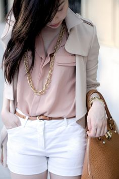 Spring / summer - street & chic style - casual look - white shorts + pale pink shirt + gold & brown accessoies