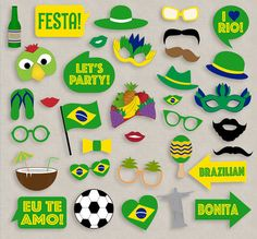 35 Brazil Party Theme Photo Booth Props by YouGrewPrintables Brazil Party, Brazil Carnival, Carnival Themes, Photos Booth, Diy Photo Booth, Party Props, Party Themes, Tableau Logo, Rio Party