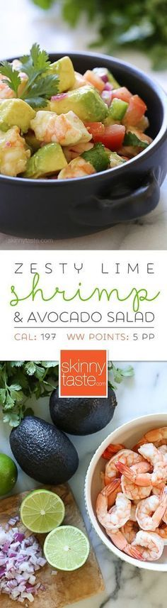 Zesty Lime Shrimp and Avocado Salad – a delicious, healthy salad made with shrimp, avocado, tomato, lime juice, jalapeno and cilantro. No cooking required and super EASY! Gluten-free, low-carb, whole30, clean eating, paleo and low calories.
