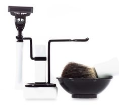 New Shaving Set RBSB Series in White & Black Shave Badger Brush Mug Bowl Shave  #AxwellUSA