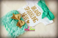 Hey, I found this really awesome Etsy listing at https://www.etsy.com/listing/274634460/baby-girl-take-home-outfit-aqua-and-gold