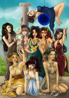 The Muses -  KALLIOPE - epic poetry; KLEIO - history; OURANIA - astronomy; THALEIA - comedy; MELPOMENE - tragedy; POLYHYMNIA - religious hymns; ERATO - erotic poetry; EUTERPE - lyric poetry; TERPSIKHORE - choral song and dance.