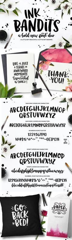 Meet Ink Bandits! A bold and cheeky typeface duo, perfect for hand lettering projects, greeting cards, typography work, unique invitations, stamps, branding and MORE! Ink Bandits comes in a in both a fun, sans serif style, as well as an organic, irregular script font. Plus, 85 catchwords and ornaments to add some extra hand-lettered flair to your work! ;)