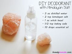 DIY Himalayan Salt Deodorant – Roll On & Spray Recipes - beautymunsta - free natural beauty hacks and more! - - DIY Himalayan Salt Deodorant – Roll On & Spray Recipes – beautymunsta – free natural beauty hacks and more! Diy Deodorant, Deodorant Recipes, Natural Deodorant, Baking Soda Deodorant, Natural Shampoo, Natural Oils, Beauty Care, Diy Beauty, Beauty Hacks