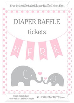 free pink dotted elephant 8x10 diaper raffle ticket sign