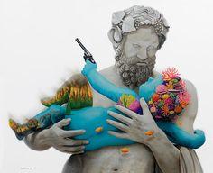 Contemporary art, pop surreal painting by Ruben Carrasco Sculpture Greek God, mythology