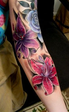 Lovely vivid-colored lily flowers tattoo sleeve for girls on forearm