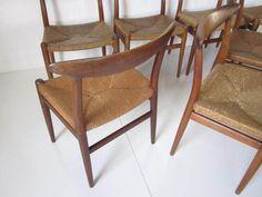 hans wegner rush seat dining chairs