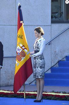 Queen Letizia delivered spanish flag to National Police at National Police School Headquarters on November 10, 2015 in Avila, Spain.
