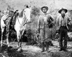 African-American cowboys standing beside a horse, early Asian History, African American History, Women In History, Black History, British History, Gaucho, Black Cowboys, Real Cowboys, Cowboy Images