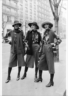"""An A1 poster sized print, approx 23""""x33"""" (841x594mm). Picture taken on March 28, 1974 at Paris showing fashion models clothings created by Guy Laroche for his ready-to-wear Autumn-Winter 1974-75 collection. (Photo by - / AFP). autumn collection, black and white picture, fashion, full length, ready to wear collection, vertical. Image supplied by Agence France-Presse (AFP). Product ID:dmcs_19130997_80444_0 Culottes Outfit, Thing 1, Guy Laroche, Model Outfits, Portrait Images, Black And White Pictures, Paris Fashion, Fashion Black, Gifts In A Mug"""