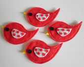 Set of 4 Pc handmade felt appliques bright red with polka dot wings custom colors available!