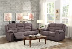 Greenville Blue Grey Double Reclining Sofa