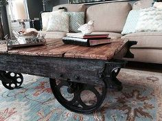factory cart coffee table, how to, painted furniture, repurposing upcycling