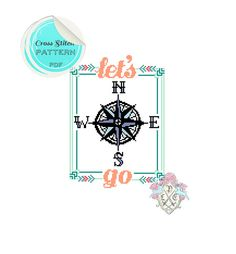 Cross Stitch Pattern Let's Go Travel door plasticlittlecovers