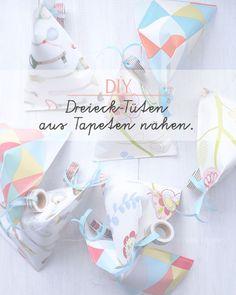 DIY Dreieck Tüten aus Tapeten basteln & nähen