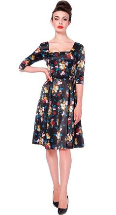 Voodoo Vixen Old Masters Floral Flare Dress | Blame Betty