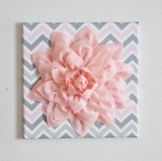 "Wall Flower Decor -Light Pink Dahlia on Pink and Gray Chevron 12 x12"" Canvas Wall Art- Baby Nursery Wall Decor-. $34.00, via Etsy."