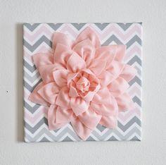 "Wall Flower Decor -Light Pink Dahlia on Pink and Gray Chevron 12 x12"" Canvas Wall Art- Baby Nursery Wall Decor-. $34.00, via Etsy."
