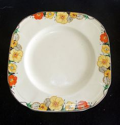 Alfred Meakin 'Royal marigold' side plate in 'Raymond' pattern Antique China, Vintage China, Vintage Dishes, Vintage Ceramic, Alfred Meakin, Old Plates, Antique Sewing Machines, Square Plates, Tea Time