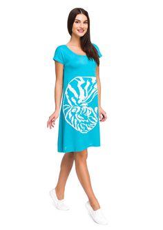 """Летнее платье с рисунком """"ракушка"""", короткий рукав, полуприлегающий силуэт."""