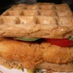Chicken and Waffles: so simple. So yummy!!! Eggo thick & fluffy waffles & Tyson frozen chicken patty. honey butter & syrup. delish!