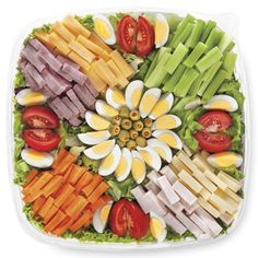 Publix Deli Chefs Salad Platter, Small Serves 8-12. Mixed greens with turkey, ham, Swiss and American cheeses, egg, tomato, green olives, celery and carrots. Served with a choice of dressing. $27.99