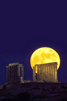 Moon Over Sounion Greece. Only saw it during the day, and it's still an impressive spot!