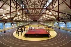 Chelsea Piers: this on-the-water sports complex offers a golf club w/a multi-story driving range, indoor sufing, NYC's largest gymnastics facility, indoor soccer & basketball courts, 25 yard 6 lane pool, and a sand volleyball court to name a few things