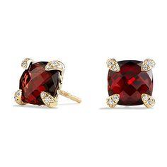 David Yurman Earrings with Garnet in 18K Gold ($1,200) ❤ liked on Polyvore featuring jewelry, earrings, gold garnet earrings, 18k gold jewelry, yellow gold jewelry, gold jewellery and garnet earrings