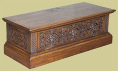 Oak TV stand with Elizabethan style strapwork carving Tv Cupboard, Tv Stand Cabinet, Cupboards, Hope Chest, Hand Carved, Flat Screen, Furniture Design, Chrome, Carving