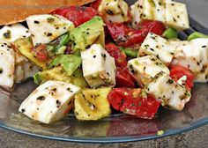 This looks so delicious!   Avocado, Tomato, Mozzarella Salad w/ olive oil, basil, salt & pepper