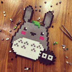 Totoro perler beads by fvisaya Totoro, Pearler Beads, Fuse Beads, Pixel Art, Pixel Beads, Hama Beads Design, Iron Beads, Melting Beads, Geek Crafts