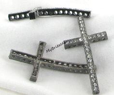 2) Alloy Gun Metal Cross with Clear Rhinestone Crystals aka Pave Crosses. $6.50, via Etsy.