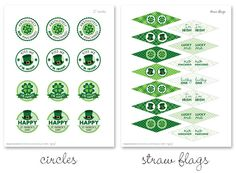 Great St Patrick Day printables from HowDoesShe - sign up to their site and you get lots of other printables. I have already used the kids party cupcake topper stickers and one of the any occasion cards.  Really nice graphics.